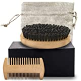Vila Beard Brush and Comb Set, Bamboo Brush with Boar Bristles and Pear Wood Comb Combo, Beard Shaping and Styling Tools for Both Wet and Dry Hair, Includes Sturdy Burlap Sack, Travel Grooming Kit