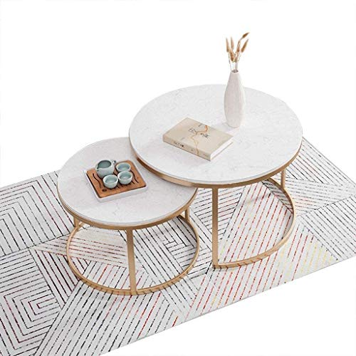 LAZ Round Tea Table Coffee Table Set of 2, Marble Table Top & Metal Frame Legs, Modern Nesting Table Side End Sofa Cocktail Table for Home Living Room