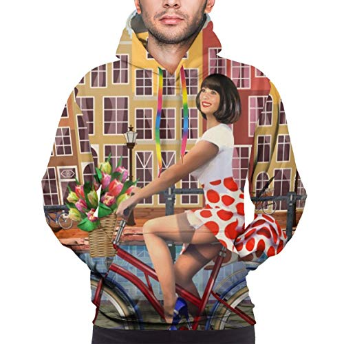 Sudadera con Capucha para Hombre Amsterdam Vintage Poster.Happy Pin-up Girl On A Bike with Flowers Sweatshirt