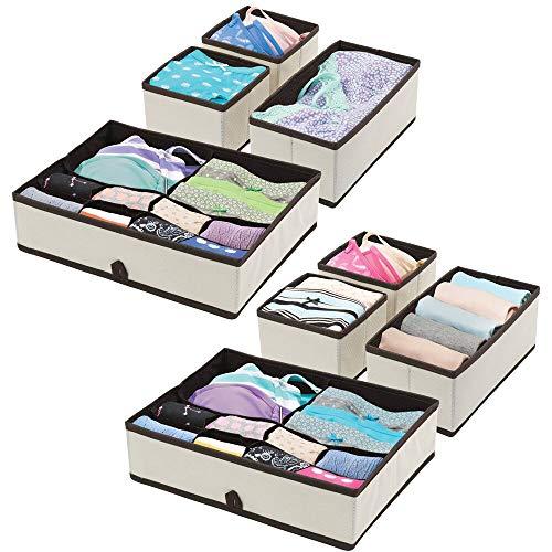 mDesign Set da 2 organizer armadio per vestiti e accessori – Scatole porta oggetti per portare ordine nell'armadio – Sistema di organizzazione con 8 scatole per armadi – crema e marrone