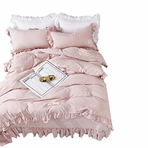 LUCKYSTAR Gewaschene Baumwolle Rüschen Einfarbig Einfach Prinzessin Stil Polyester Bettwäsche Bettbezug 4-Teiliges Set,Pink,220 * 240Cm
