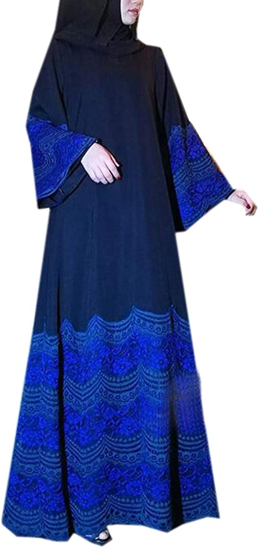 Fensajomon Womens Lace Contrast Long Sleeve Saudi Arabia Middle East Maxi Robes Kaftan Dress
