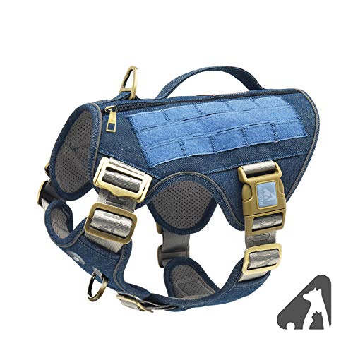 Auroth Tactical Dog Harness for Large Medium Small Dogs, Hidden Backpack,Nesting Buckles Reflective Adjustable Military Dog Harness Soft Service Dog Vest Navy Blue M