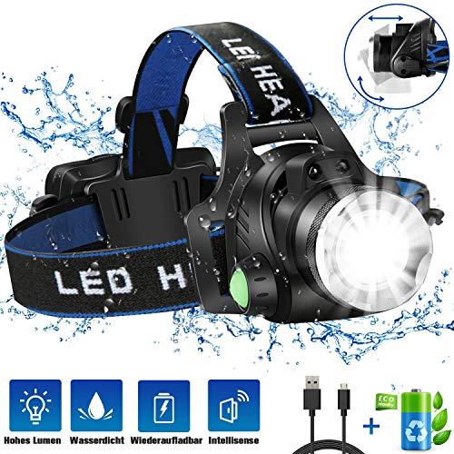 JOMARTO Stirnlampe, LED Kopflampe USB Wiederaufladbare Headlight IPX4 Wasserdichter T004 Kopfleuchte mit 4 Modi und verstellbarem Stirnband, perfekt für Angeln, Camping, Klettern, Autoreparatur