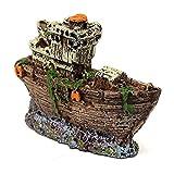 Homeilteds Ornamento del Acuario Pirata Hundido Barco Naufragio Fish Tank Waterscape Cueva Decoración Durable (Color : Black, Size : One Size)