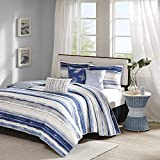 Madison Park Marina 6 Piece Quilted Coverlet Set, Blue, Cal King, King King(104'x94')