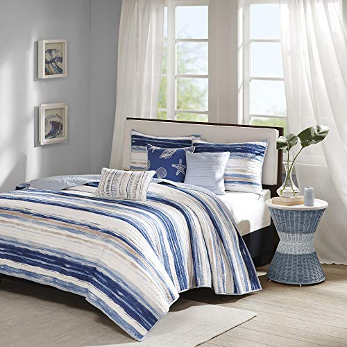 """Madison Park Marina 6 Piece Quilted Coverlet Set, Blue, Cal King, King King(104""""x94"""")"""