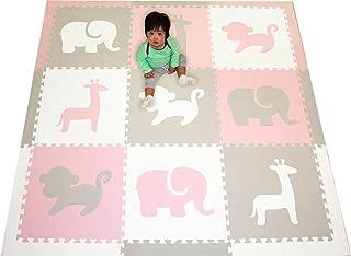 SoftTiles Children's Playmat- Safari Animals- Premium Interlocking Foam Large Floor Tiles for Girls Playroom and Baby Nursery- Size 6.5 x 6.5 ft.- (Light Pink, Light Gray, White) SCSAFWCH
