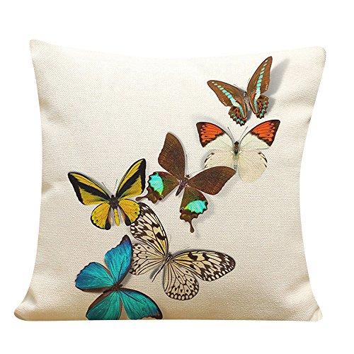 LEEDY - Funda de cojín con diseño de mariposas para decorar el hogar, sofá, coche, dormitorio con cremallera invisible 45,72 x 45,72 cm, poliéster, D, Medium