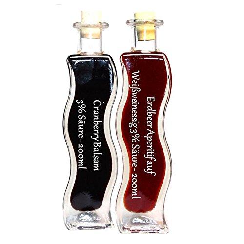 Geschenkset & Probierset in einer Schmuckflasche   2 x 200ml Essig   Erdbeer Essig - Cranberry Balsam