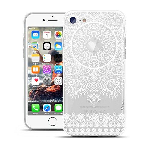 HULI Design Hülle Hülle für Apple iPhone 7 Smartphone im Orientalischen Muster weiß - Schutzhülle klar aus Silikon mit orientalischem Mandala Sonnenmuster Henna Ornament Traumfänger - Handyhülle