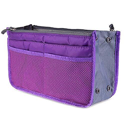Ducomi Handtaschen-Organiser Geldbeutel-Einsatz 13 Fächer - Ideal für Dokumente, Telefon, Make-up, Schlüssel an Ihren Fingerspitzen (Violett)