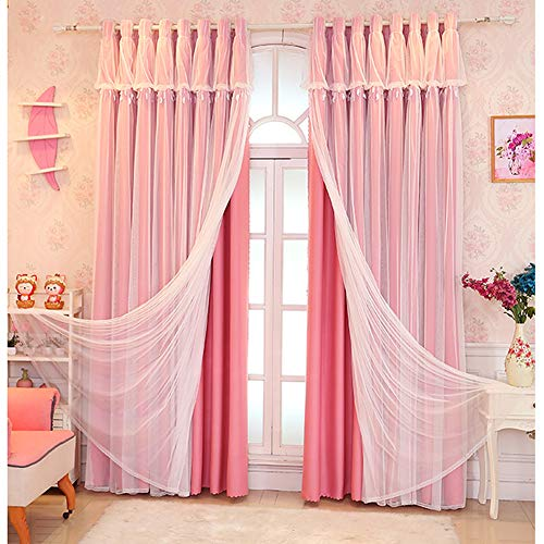 Blackout Curtains,White Sheer Tulle Panel for living room Pencil Pleat Lined Curtains Solid Panels Thermal Insulated Drapes Kids Curtains for Girls Bedroom Double Layer Curtains,Beige 1pcs