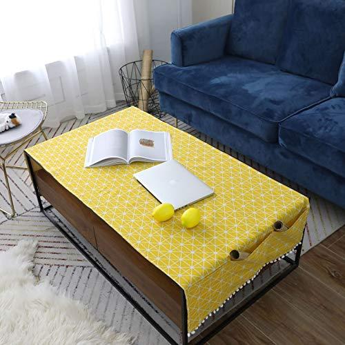 Epinki Mantel Tablero de Ajedrez Amarillo Mantel Ropa de algodón Ideal para Cocina Mesa Decoración Tamaño 70x170CM