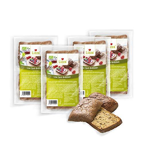 Lizza Low Carb Aufback-Brötchen   83% weniger Kohlenhydrate   Bio. Glutenfrei. Vegan   Protein- & Ballaststoffreich   Keto- & Diabetikerfreundlich   Zuckerarm   8 Brötchen (Vorrat für 1 Woche)