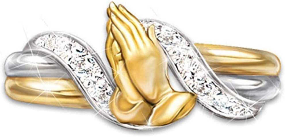 GOMYIE Hip-Hop Lady Praying Hands Cross Crystal Ring Blessings for Family and Friends Praying Charm Gifts(Gold Color Size 10)