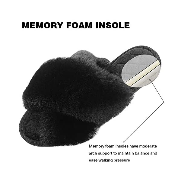 Women's Slippers, Cross Band Indoor or Outdoor Anti-Skid Fuzzy Soft Fleece House Slippers for Women Open Toe Memory Foam
