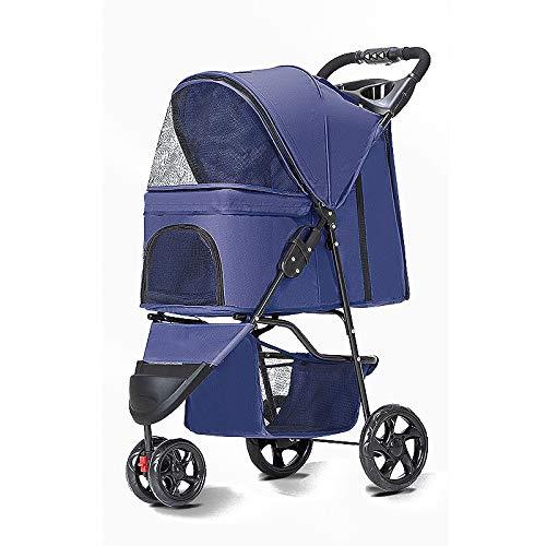 PULLEY Cochecito de perro para gatos, cochecito de conejo, cochecito plegable, fácil de caminar para mascotas, capacidad máxima de 15 kg