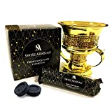 Premium Instant Hookah and Bakhoor/Incense Charcoal Disk (Smokeless) | 1 Box, 8 Rolls, 80 Round Tablets | Quick Light Coal Briquettes | Use with Traditional Bukhoor Burners | Swiss Arabian Oud Brand
