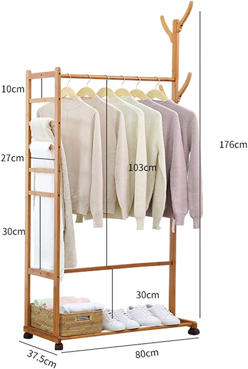 JIANFEI Home Floor Standing Coat Rack Hat Stand Hanger Multifunction It Can Move Storage,Bamboo 6 Size (color   Solid Wood color, Size   80x37.5x176cm)