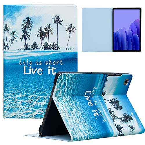 TeeFity Samsung Galaxy Tab A7 10.4 2020 Case, Samsung Tab A7 Case, Protective Stand Case with Auto Sleep/Wake for Galaxy Tab A7 10.4' 2020 Tablet (Model SM-T500/T505/T507), Beach
