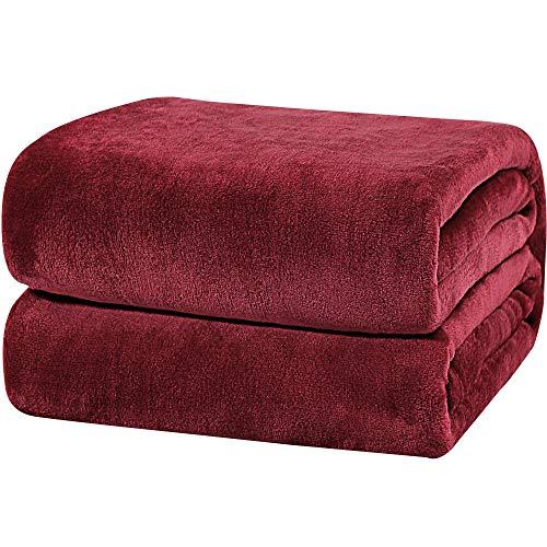 PiccoCasa Tagesdecke Kuscheldecke Bett Sofa 350GSM Fleecedecke als Schlafdecke, Sofadecke, Couchdecke Weich&Warm aus Mikrofaser für Couch Schlaf Reisen usw. Rot 150x200cm