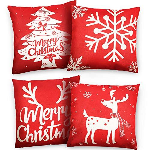 4 Piezas Funda de Almohada de Navidad Cubierta de Cojín de Lino Algodón, 18 por 18 Pulgadas Árbol de Navidad Reno Copo de Nieve Merry Christmas para Sofá Decoración de Hogar Navideño