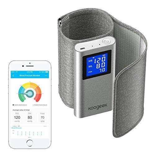 Koogeek Tensiómetro de Brazo Monitor de Presión Arterial Medir la Frecuencia Cardíaca FDA y CE Certificado con Gran LCD Pantalla App Gratuita para iOS y Android