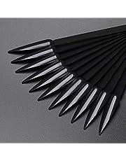 NMKL38 80pcs Stiletto Nail Swatches Sticks Fan-shaped Nail Art False Tips Color Card Gel Nail Polish Display Board Detachable Practice Sticks Wheel with Ring Holder (Black)