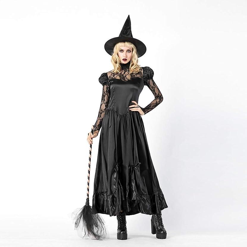 番目常習的苦味女性ハロウィンコスプレコスチュームヴィンテージウィッチロングスリーブドレス(ブラック,FREE)