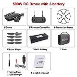 Drone H13 pliable avec caméra HD Drone aérien pliable à quatre axes Grand angle WiFi FPV Hélicoptère Drone RC à flux optique Boîte de rangement noire (batterie 500 W / 3 *)