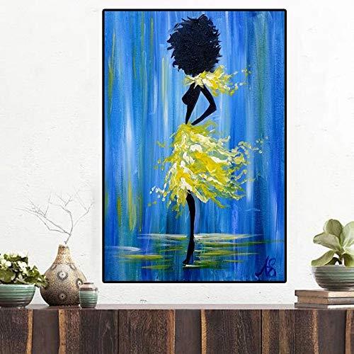 DERFV Póster de Pintura al óleo Abstracta Imprime Arte de Pared escandinavo de una Imagen Abstracta de Mujer Negra Africana en Lienzo