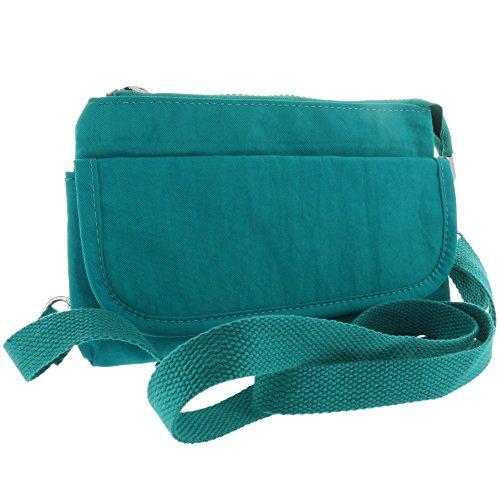 Schöne kleine Damen Freizeittasche/Handtasche für Kleinutensilien mit Schultergurt - Umhängetasche türkis