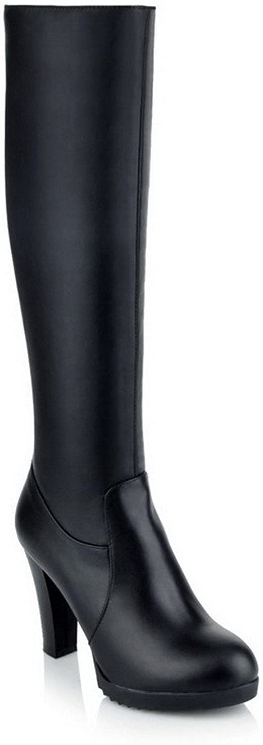 WeiPoot Womens Blend Materials Solid High-Heels Round Closed Toe Boots