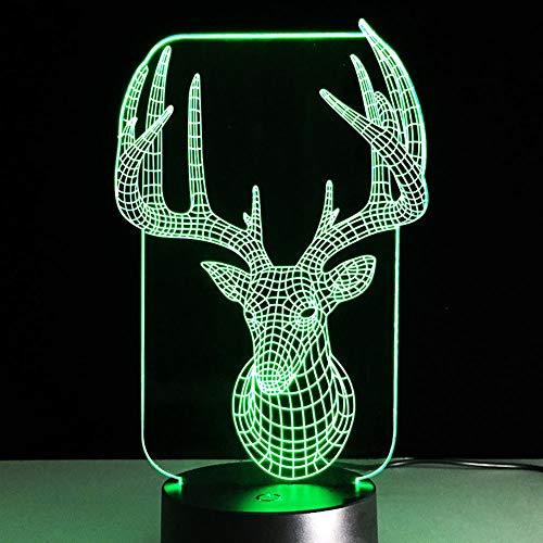 LIkaxyd 3D Led Luz De Noche Ilusión Reno Led Usb Luces Nocturnas Ilusión Lámpara De Mesa Táctil Luces Para La Decoración Del Partido Presentes De Cumpleaños