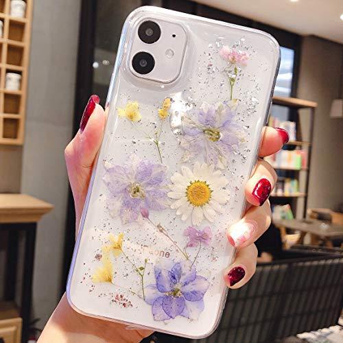 Tybiky iPhone 12 Hülle, iPhone 12 Pro Handyhülle Getrocknete Blumen Hülle Kristall Gel Schutzhülle Blume Bumper Superdünn Cover Schale Schutzhülle für Apple iPhone 12, 3 Lila 1 Weiß