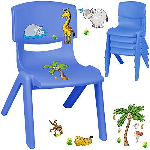 alles-meine.de GmbH Kinderstuhl / Stuhl - Motivwahl - blau + Sticker - Zootiere & Giraffe - inkl. Name - Plastik - bis 100 kg belastbar / kippsicher - für INNEN & AUßEN - 0 - 99 ..