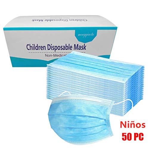 MaNMaNing Niños Protección 3 Capas Transpirables con Elástico para Los Oídos Pack 50 unidades 20704-MaNMaN-AZ50