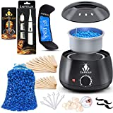 Emprian Waxing kit Wax Warmer - 200gr Blue Wax Beads, Wax Pot for Women and Men - Painless Waxing for Full Body, Legs, Face, Eyebrows, Bikini and Armpit - Easy to Use Hair Removal Wax Warmer for Salon