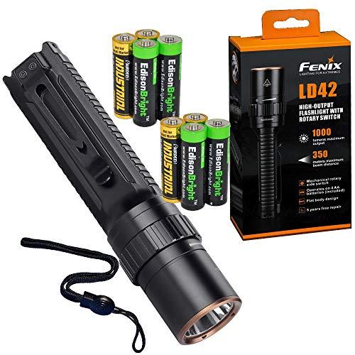 Fenix LD42 1000 lumen AA battery powered rotary controller LED flashlight with 4 X EdisonBright AA batteries bundle