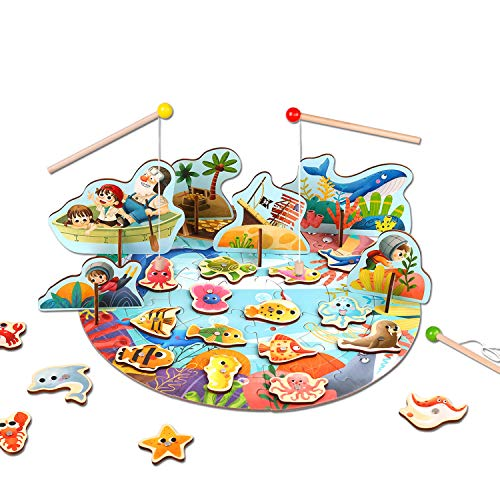 Tooky land Magnetic Wooden Fishing Game with Jigsaw Puzzle Fishing Pool for Toddler Ages 3+, Including 20 Colorful Fishes,3 Wood Poles and 1 Bucket for Storage