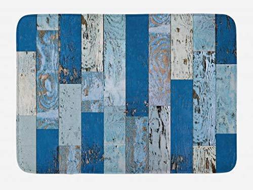 Casepillows Houten Print Badmat, Oude Ruwe Houten Planken met Verweerde Look Rustieke blokhut deur Afbeelding, Pluche Badkamer Decor Mat met Niet Slip Backing, 23,6 x 15,7 Inch, Marineblauw