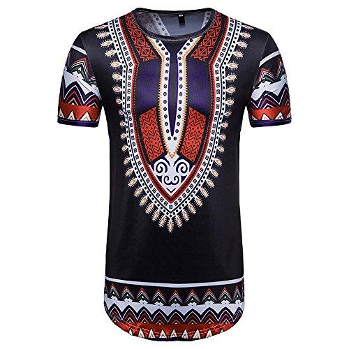 TWIFER Vintage Sommer T-Shirt Herren Casual Afrikanischen Gedruckt O Hals Pullover Kurzarm T-Shirt Top Bluse