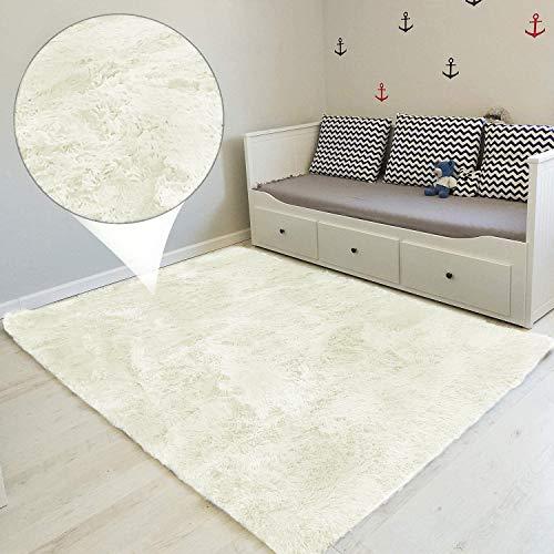 Tapis Salon Shaggy 160x230 cm- Descente de lit Chambre Grande Taille Tapis Poils Longs Moderne tapid Moquette Poil Long tapi Blanc Jaunâtre