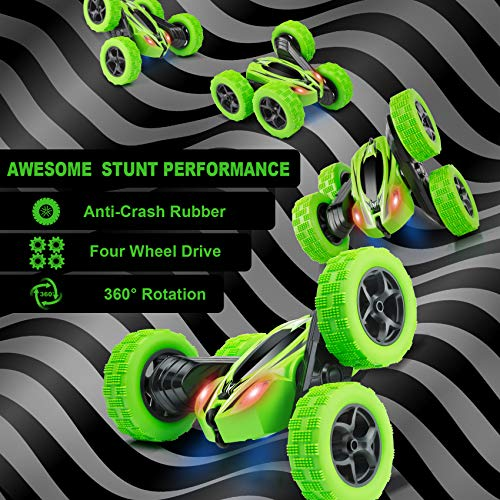 Remote Control Car, ORRENTE RC Cars Stunt Car Toy, 4WD 2.4Ghz Double Sided 360° Rotating RC Car with Headlights, Kids Xmas Toy Cars for Boys/Girls (Green)