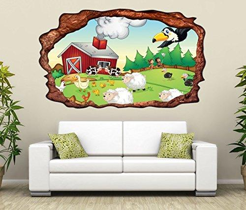 3D Wandtattoo Bauernhof Tiere Kinderzimmer Schaf Ente selbstklebend Wandbild Tattoo Wohnzimmer Wand Aufkleber 11L387, Wandbild Größe F:ca. 162cmx97cm