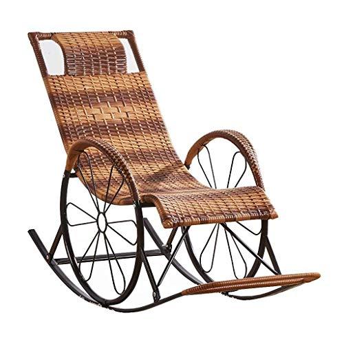 N /A Chaise à bascule d'extérieur en rotin, chaise longue, chaise longue, chaise longue inclinable, chaise de jardin (couleur : jaune rayé), Jaune rayé