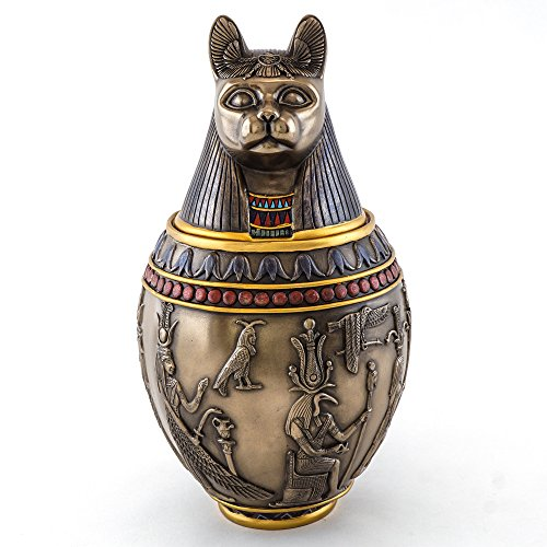 Top Collection Canopic Jar Statue in Cold Cast Bronze - Ancient Egyptian Mythology Artifact - Collectible Figurine Sculpture (Bastet)