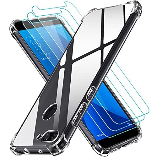 iVoler Custodia Cover per ASUS Zenfone Max Plus M1 ZB570TL 5.7 Pollici + 3 Pezzi Pellicola Protettiva in Vetro Temperato, Ultra Sottile Morbido TPU Trasparente Silicone Antiurto Protettiva Case