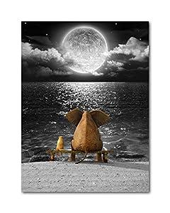 Bathroom Wall Decor Art Animal Resting Elephant Look Moon Black and White Ocean Sea Modern Canvas Prints Art Ready to Hang 12x16 Inch